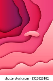 Abstract paper cut pink background