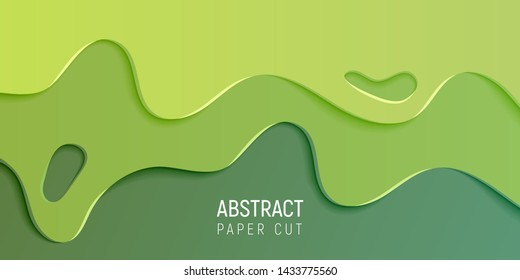 Abstract paper cut slime background. Banner with slime abstract background with green paper cut waves. Vector illustration.