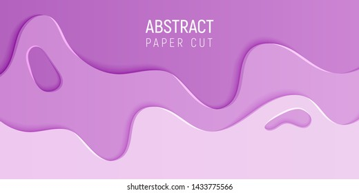 Abstract paper cut slime background. Banner with slime abstract background with pink paper cut waves. Vector illustration.