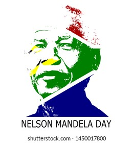 Abstract paper cut style for International Nelson Mandela Day with South Africa Flag colour 18 july 2019.