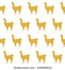 Abstract paper cut yellow llama seamless pattern background. Childish crafted llama for design holiday wrapping paper, baby nappy, textile, birthday wallpaper etc.