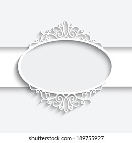 Abstract paper frame with shadow, vector round vignette, ornamental label on white background, eps10