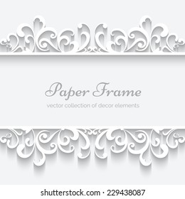 Abstract paper frame with swirly border ornament, header, white vector background, eps10