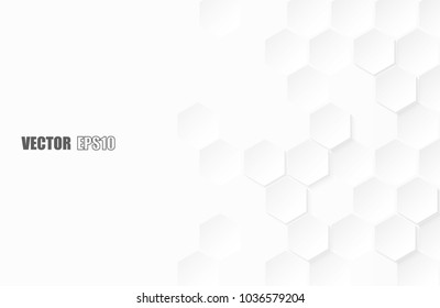 Abstract paper Hexagon white Background ,light and shadow ,Vector