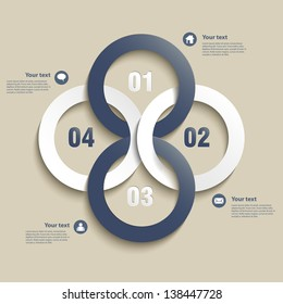 Abstract Paper Infographics colored circles- vector