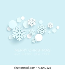 Abstract Papercraft Snowflakes Christmas Background. Vector illustration EPS10