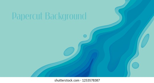 Abstract Papercut Background Blue vector