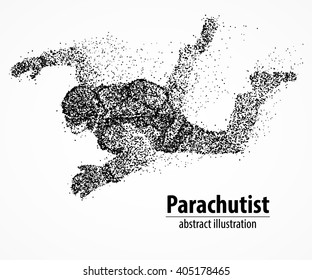 Abstract parachutist from black circles. Vector illustration.