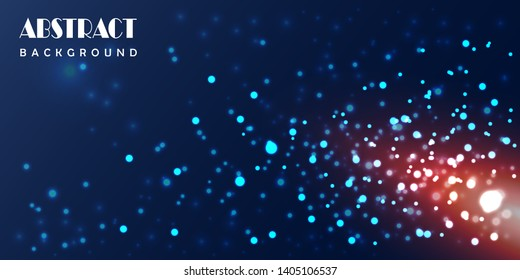 Abstract particles digital technology background.