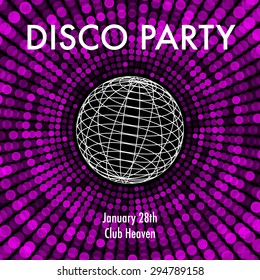 Abstract party background in purple and black with wireframe od disco ball.