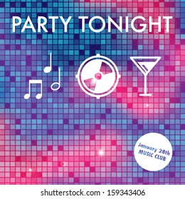 Abstract party invitation with colorful background and white texts and icons.