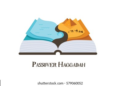 abstract passover story haggadah book . Jews out of Egypt. vector illustration