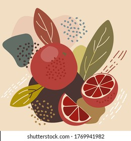Abstract pastel colors fruit element memphis style. vector illustration of red blood orange on retro abstract background for organic food packaging, natural cosmetics, vegetarian, vegan products
