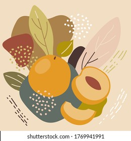Abstract pastel colors fruit element memphis style. vector illustration of apricot on retro abstract background for organic food packaging, natural cosmetics, vegetarian, vegan products.