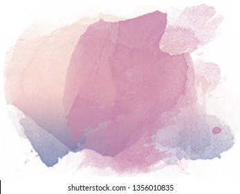Abstract pastel ecru colored, pink and violet gradient watercolor smudge and splash vector background on white paper