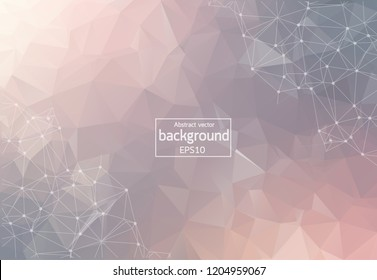 Abstract Pastel Polygonal Space Background with Connecting Dots and Lines. Geometric Polygonal background molecule and communication. Concept of science, chemistry, biology, medicine, technology.