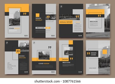 Abstract patch brochure cover design. Gray  info data banner frame. Techno title sheet model set. Modern vector front page art. Urban city blurb texture. Orange citation figure icon. Ad flyer text.
