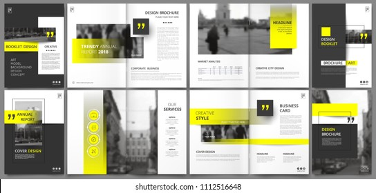 Abstract patch brochure cover design. Gray  info data banner frame. Techno title sheet model set. Modern vector front page art. Urban city blurb texture. Yellow citation figure icon. Ad flyer text.