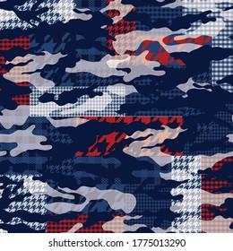 abstract patchwork  pattern on navy