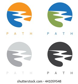 abstract path or river labels set vector illustration