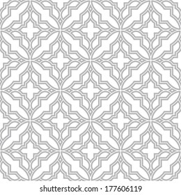 Abstract pattern in Arabian style. Seamless vector background. Gray and white texture.