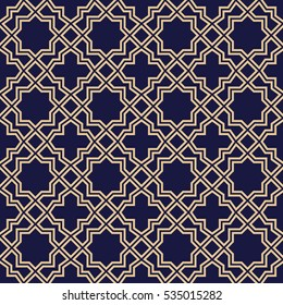 Abstract pattern in Arabian style. Seamless vector background.  Gold and blue black ornament.