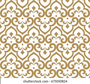Abstract pattern in Arabian style. Seamless vector background. Graphic modern pattern. White and gold pattern.