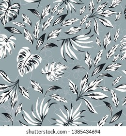Abstract pattern black white exotic leaves on the contour floral background. Seamless vector composition