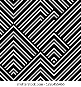 Abstract pattern with black white striped lines. Vector  background, texture. Futuristic element, technologic design.