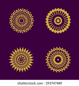 abstract pattern circles with bodhi concept asia art style isolate on black background, vector illustration