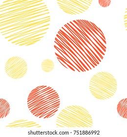 Abstract pattern with circles, textured with hand drawn lines. Yellow and red colors. Simple pattern for fabric and wrapping. Background pattern