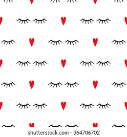 Abstract pattern with closed eyes and red hearts. Cute eyelashes background illustration.