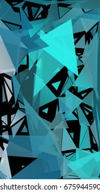 Abstract pattern consisting of randomly distributed triangles of different sizes and colors. Chaotic geometric background