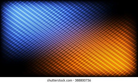 Abstract pattern of crossing lines. Blue and orange highlights. 16:9 HD aspect ratio. Desktops, screen savers, DVD menu interfaces & digital backgrounds.