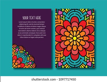 Abstract pattern front and back vector card template