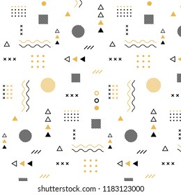 Abstract pattern with geometric elements on  transparent background.