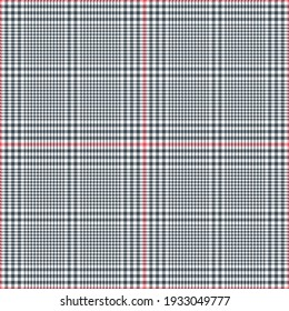 Abstract pattern glen in grey, pink, white for textile print. Seamless pixel textured tweed tartan check plaid background graphic for spring autumn winter fashion jacket, coat, skirt, dress, trousers.