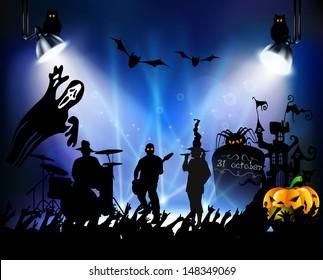 Abstract pattern halloween background. vector illustration, Rock concert on Halloween