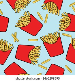 Abstract pattern with Hand draw french fries. For textile, prints, wrapping paper,web