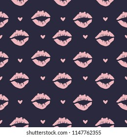 Abstract pattern with hearts and silhouette of lips. Bekraund for sports, textiles, fabrics, clothes, web, wrapping paper, pastel linen.