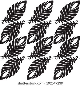 Abstract pattern leaves and feathers black-white