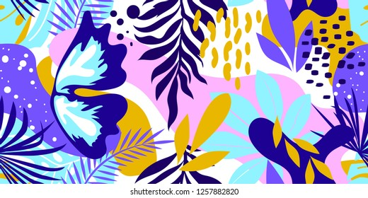 Abstract pattern with leaves and flowers. Seamless with flowers vector on modern style. Hawaii's exotic landscape is a tropical paradise. Designed for fabrics, textiles, wrapping paper.