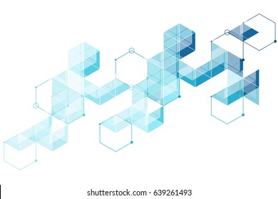 Abstract pattern of light blue background. Triangles and hexagon mosaic