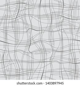 Abstract pattern with lines similar to gauze. Background with curved lines. Ornament in gray and black colors.