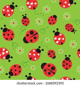 Abstract pattern on a hammer background with flowers and ladybug. print for textiles, fabrics, children, backpacks, wrapping paper, web, bedding.