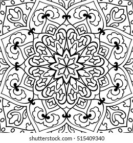 Abstract pattern on a white background. Oriental ornament. Template for carpet, shawl, cushion.