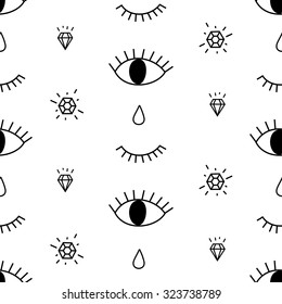 Abstract pattern with open and winking eyes, diamonds, tears. Cute trendy background. Seamless pattern for wallpapers, pattern fills, web backgrounds, surface textures, textile.