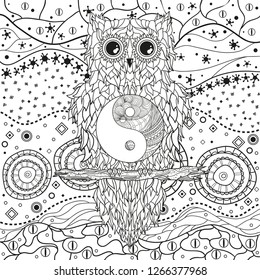 Abstract pattern with owl on isolated white. Zentangle. Hand drawn abstract patterns on isolation background. Design for spiritual relaxation for adults. Black and white illustration