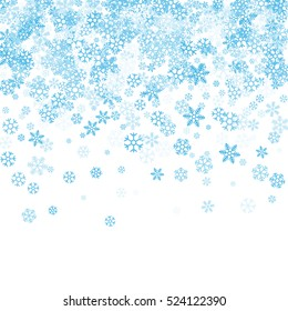 Abstract pattern of random falling blue snowflakes on white background. Winter pattern for banner, greeting, Christmas and New Year card, invitation, postcard, paper packaging. Vector illustration.