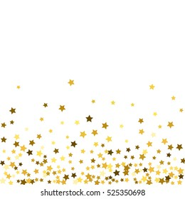 Abstract pattern of random falling gold stars on white background. Glitter pattern for banner, greeting card, Christmas and New Year card, invitation, postcard, paper packaging. Vector illustration
